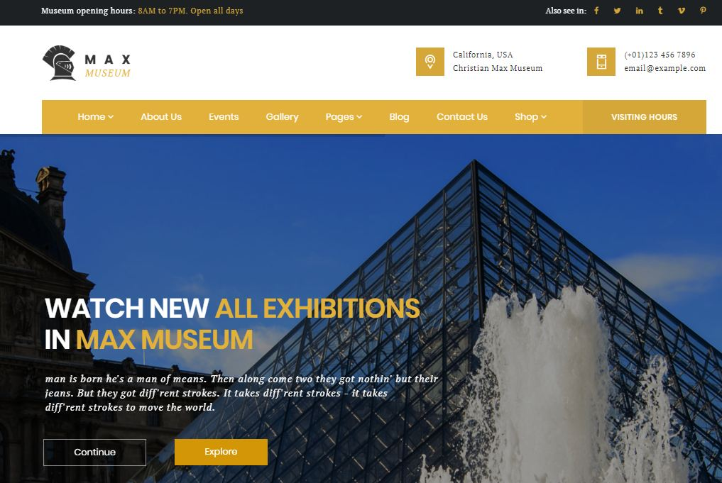 Max museum template wordpress bảo tàng