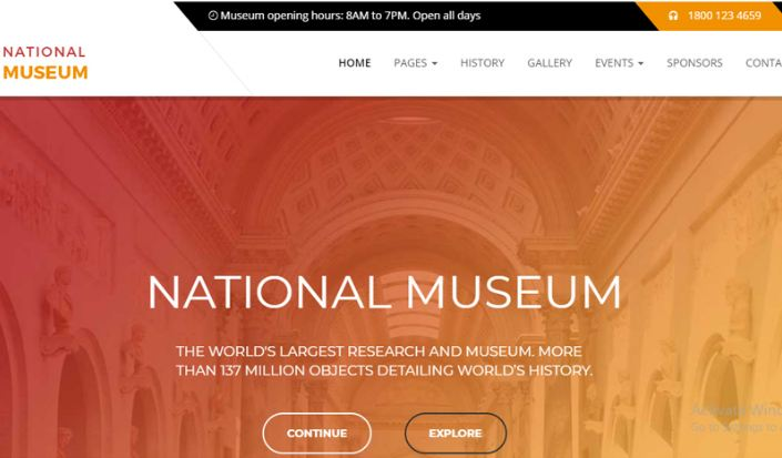 Nation museum - template wordpress bảo tàng